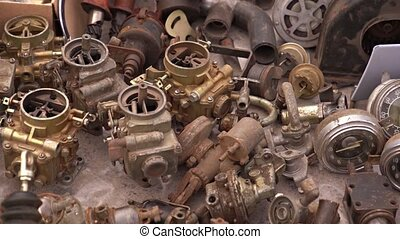 Spare parts for vintage cars. Carburetors, beeps, small motors and others. 4k video
