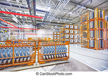spare parts in a car factory