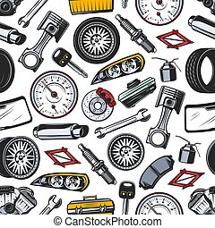 Spare parts of car and auto seamless pattern - Car spare...