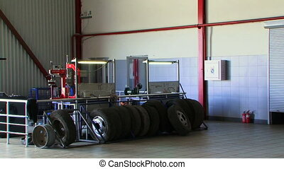 Spare wheel - Several tires waiting to be repaired.