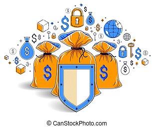 spareinlagen, schutzschirm, kredite, idee, investitionen, schutz, vektor, säcke, geschaeftswelt, design., deponieren, versicherung, begriff, aus, sicher, bankwesen, finanziell, geld