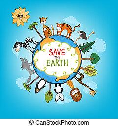 sparen, aarde, illustratie, concept