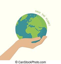 sparen, concept, hand, planeet land, houden