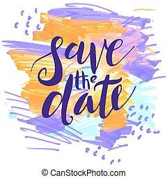 sparen, datum, trouwfeest, invitations.