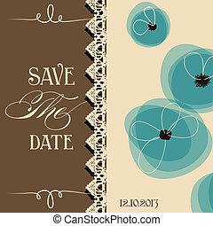 sparen, de, datum, elegant, uitnodiging, floral ontwerpen