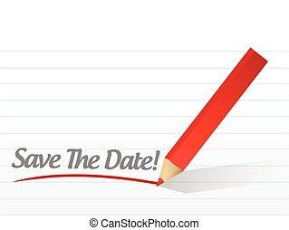 sparen, de, datum, potlood, schrijvende