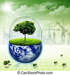 sparen, de, earth., abstract, milieu, achtergronden, voor,...