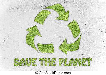 sparen, de, planet:, recycleren symbool, gemaakt, van, gras