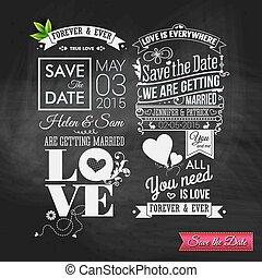 sparen, holiday., trouwfeest, datum, s, persoonlijk, ouderwetse , typografie