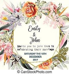 sparen, of, uitnodiging, tropische , kaart, trouwfeest, rozen, vellen, planten, datum, pearch, mooi