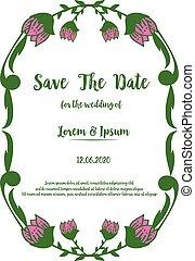 sparen, roze, frame., kaart, huwelijk uitnodiging, vector, mooi, datum, bloem