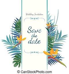 sparen, uitnodiging, card., date., trouwfeest