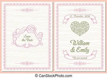 sparen, uitnodiging, datum, kaart, trouwfeest