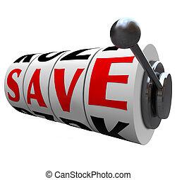 sparen, woord, gleuf machine, wielen, reddend geld, korting