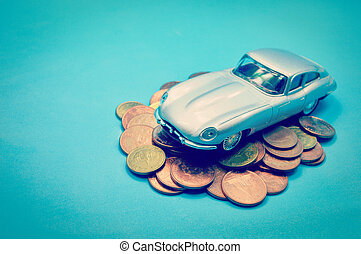 sparepenge penge, by, automobilen, begreb branche