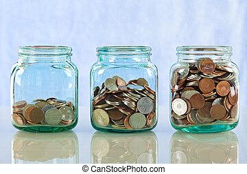 sparepenge penge, ind, gamle, krukker