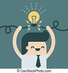 Spark idea - Businessman spark a new idea.
