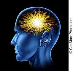 Spark of Creativity - Spark of creativity with a human head ...