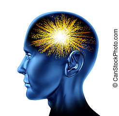 Spark of genius in the human brain as a symbol of invention and wisdom of creative thinking.
