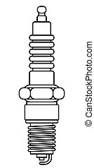 Spark plug contour illustration