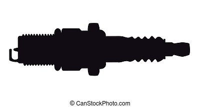 A spark plug in silhouette on a white background