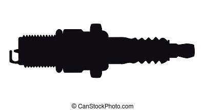 Spark Plug Silhouette - A spark plug in silhouette on a...