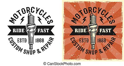 Spark plug vector emblem, badge or t-shirt print
