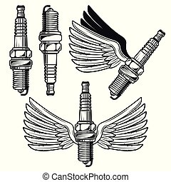 Spark plug with angelic wings vector objects