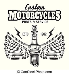 Spark plug with wings and text vector illustration