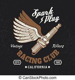 Spark plug with wings vintage motorcycle emblem