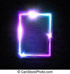 sparkle., 壁フレーム, ネオン 印, デザイン, 乱ちきパーティー, 要素, 照ること, フラッシュ, バックグラウンド。, 白熱, 音楽, 黒, れんが, 長方形, 星, 電気である, 縦, クラブ, イラスト, bar., レーザー光線, ディスコ, ベクトル, 夜