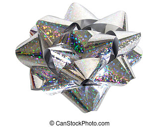 A sparkly christams bow on a white background. This image also contains a clipping path.