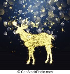 Christmas background with sparkle effect deer