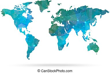 Sparkle diamond vector world map vector illustration