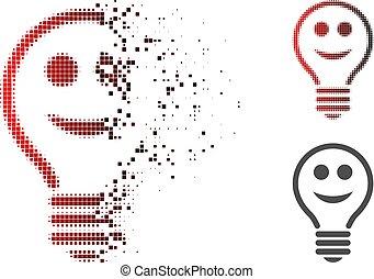 Sparkle Dot Halftone Happy Electric Bulb Icon