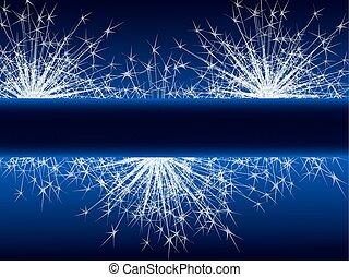 Sparkle fireworks on blue background.