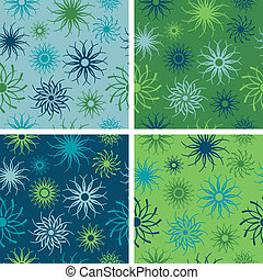 Sparkle Flower Pattern Blue-Green