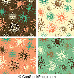 Sparkle Flower Pattern Green-Salmon