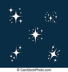 Sparkle icon set. glowing or brilliant particle of fire, star, shimmer and twinkle in air. Vector flat style cartoon sparkle illustration isolated