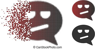 Sparkle Pixel Halftone Bored Smiley Message Icon