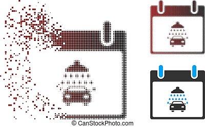 Sparkle Pixel Halftone Car Shower Calendar Day Icon