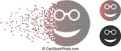 Sparkle Pixel Halftone Clever Smiley Icon - Vector clever...