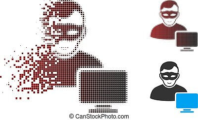 Sparkle Pixel Halftone Computer Hacker Icon