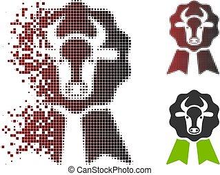Sparkle Pixel Halftone Cow Award Seal Icon