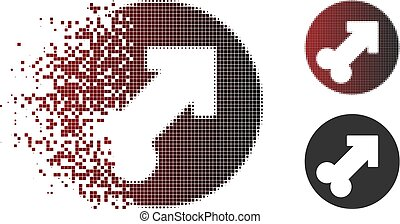 Sparkle Pixel Halftone Erection Icon - Vector erection icon...
