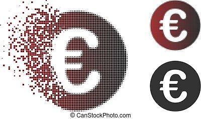 Sparkle Pixel Halftone Euro Coin Icon