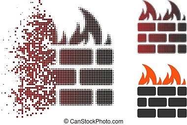 Sparkle Pixel Halftone Fire Wall Icon