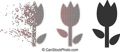 Sparkle Pixel Halftone Tulip Icon - Vector tulip icon in...