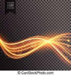 sparkleing, doré, lumière, résumé, lignes, effet, lentille, ondulé, flamme, poussière, particules, transparent