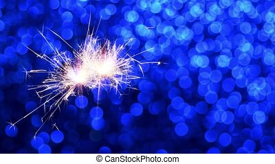 Sparkler and Blue Christmas or New Year background - ...